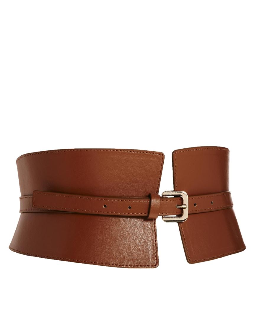 asos wide waist cincher buckle belt in brown lyst