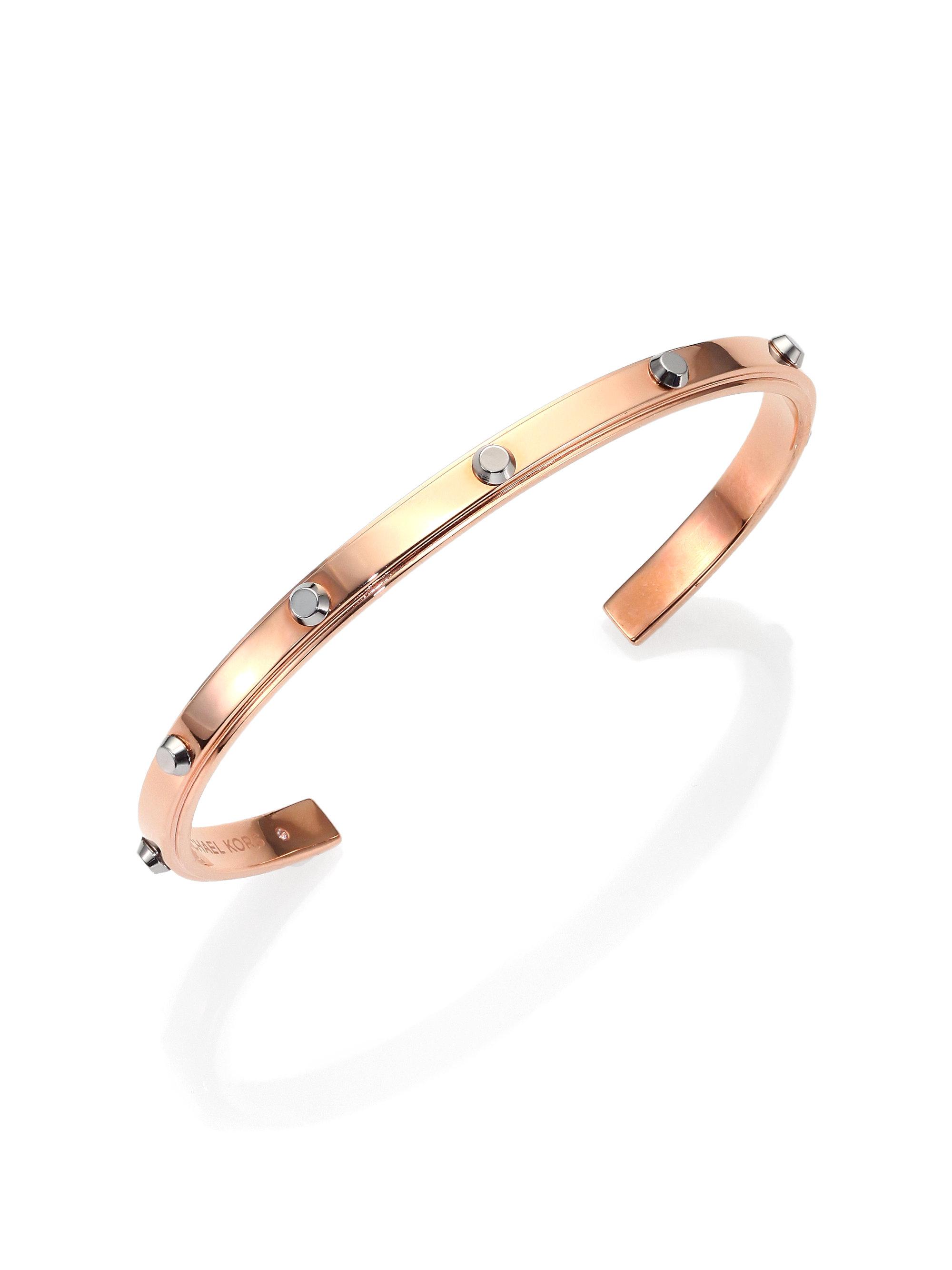 4e84d4ed965f0 Lyst - Michael Kors Astor Two-Tone Studded Cuff Bracelet Rose ...