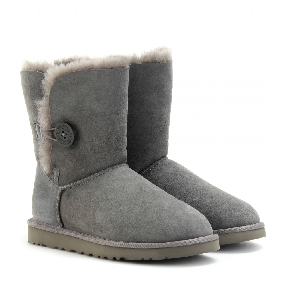 Ugg Bailey Single Button Shearling Boots In Gray Lyst