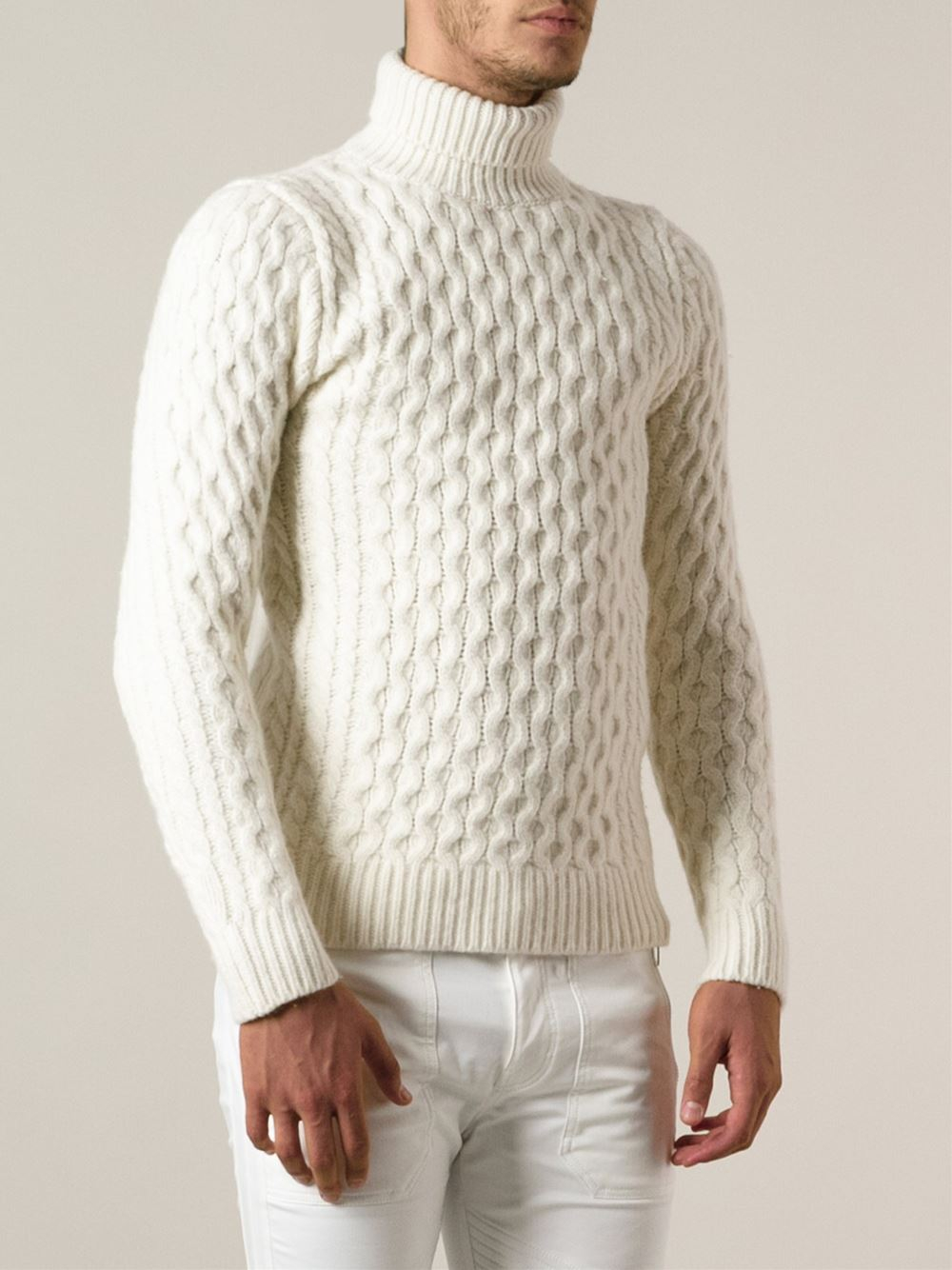 Lyst Diesel Cable Knit Turtleneck Sweater In White For Men