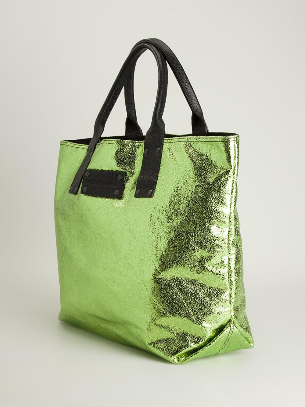 Stephane Verdino Foil Shopper Tote in Green