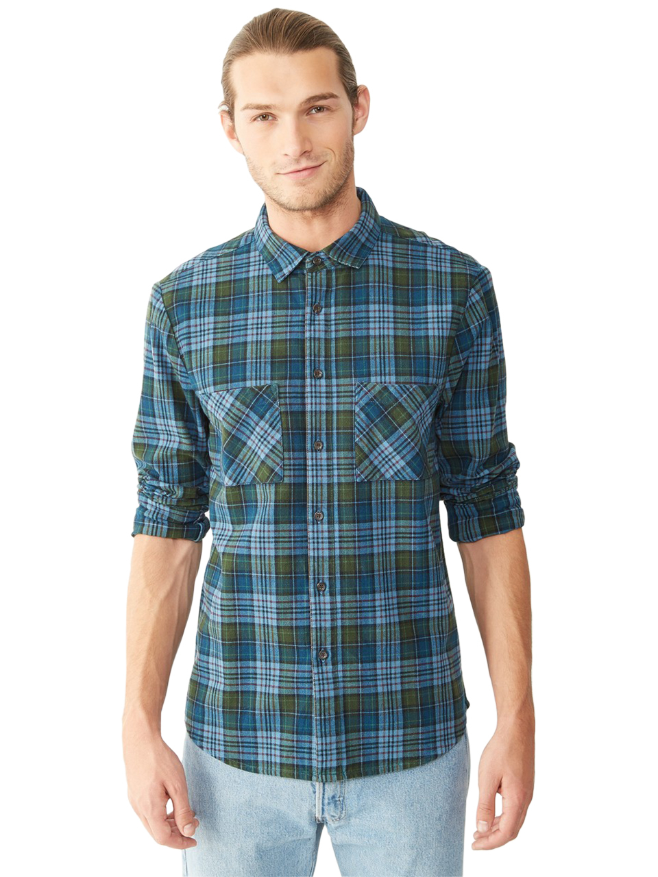 Lyst alternative apparel flannel button up shirt in blue for Button up flannel shirts