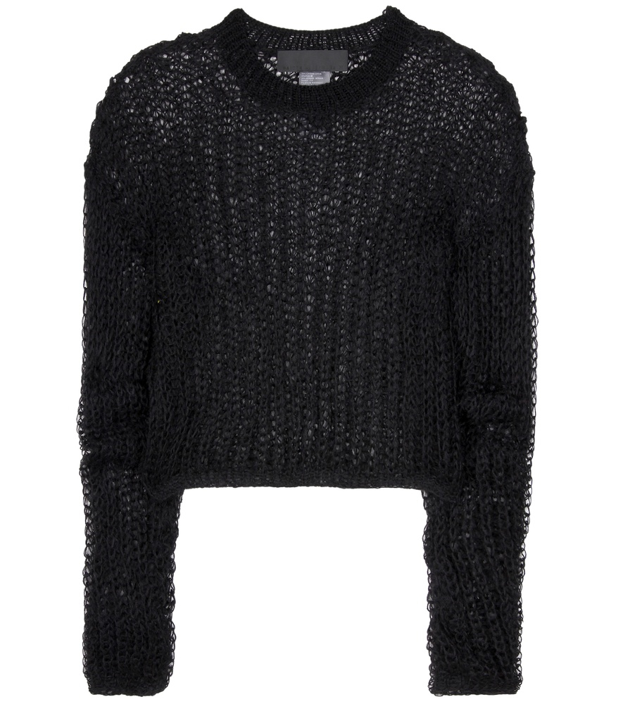 haider ackermann open knit cotton and wool sweater in. Black Bedroom Furniture Sets. Home Design Ideas