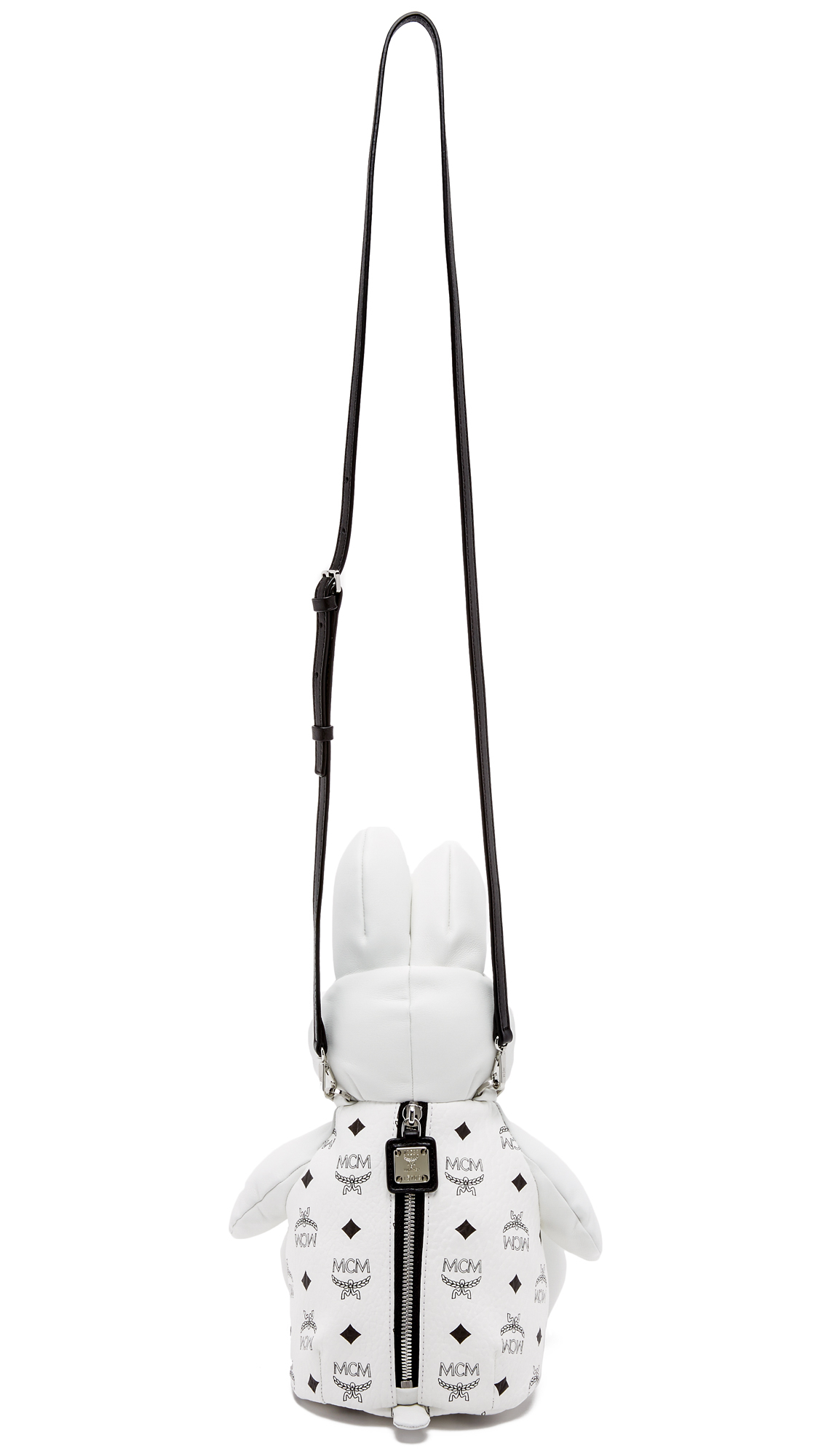 MCM Leather Labbit Cross Body Bag in White