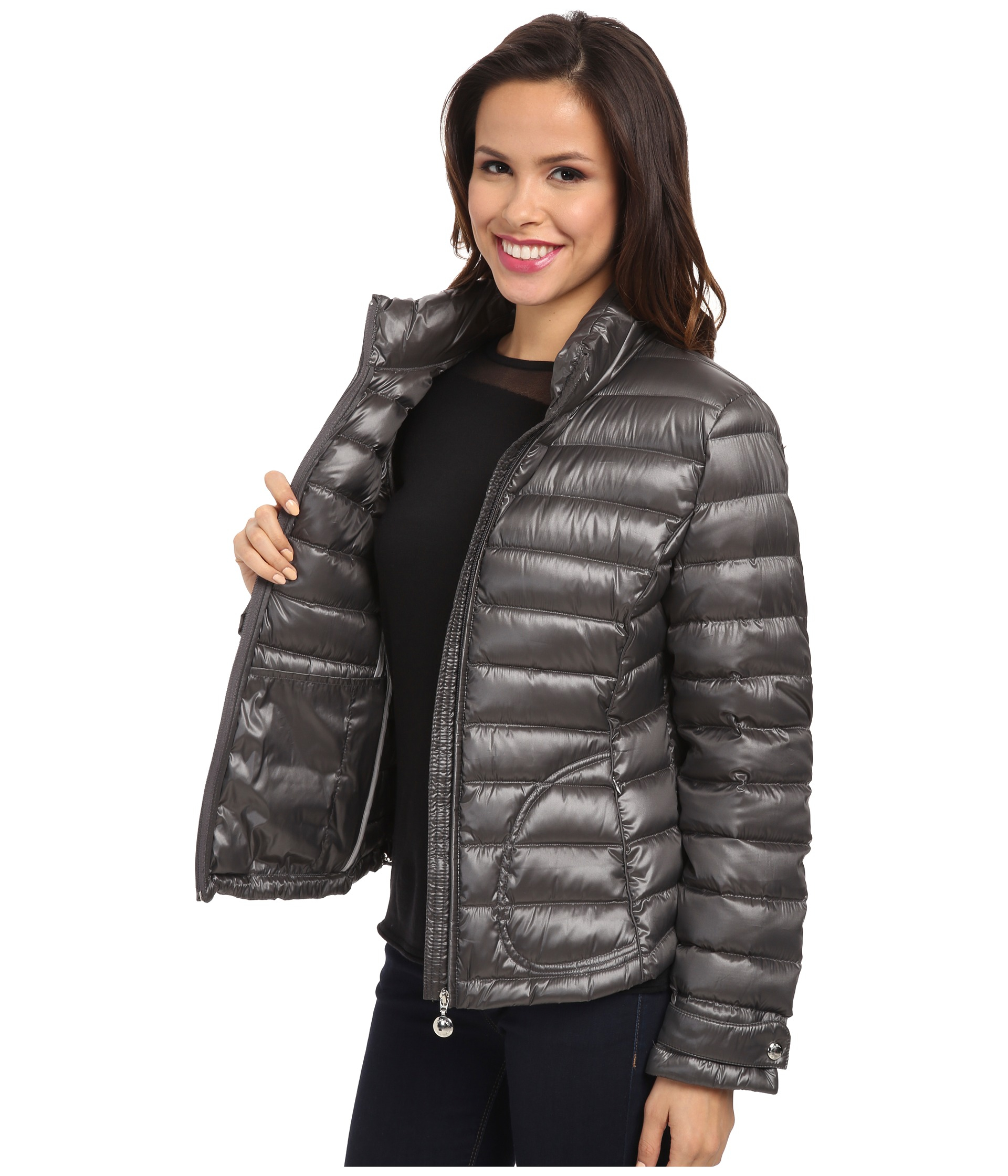 Calvin klein Zipfront Puffy Packable Down Jacket in Gray | Lyst