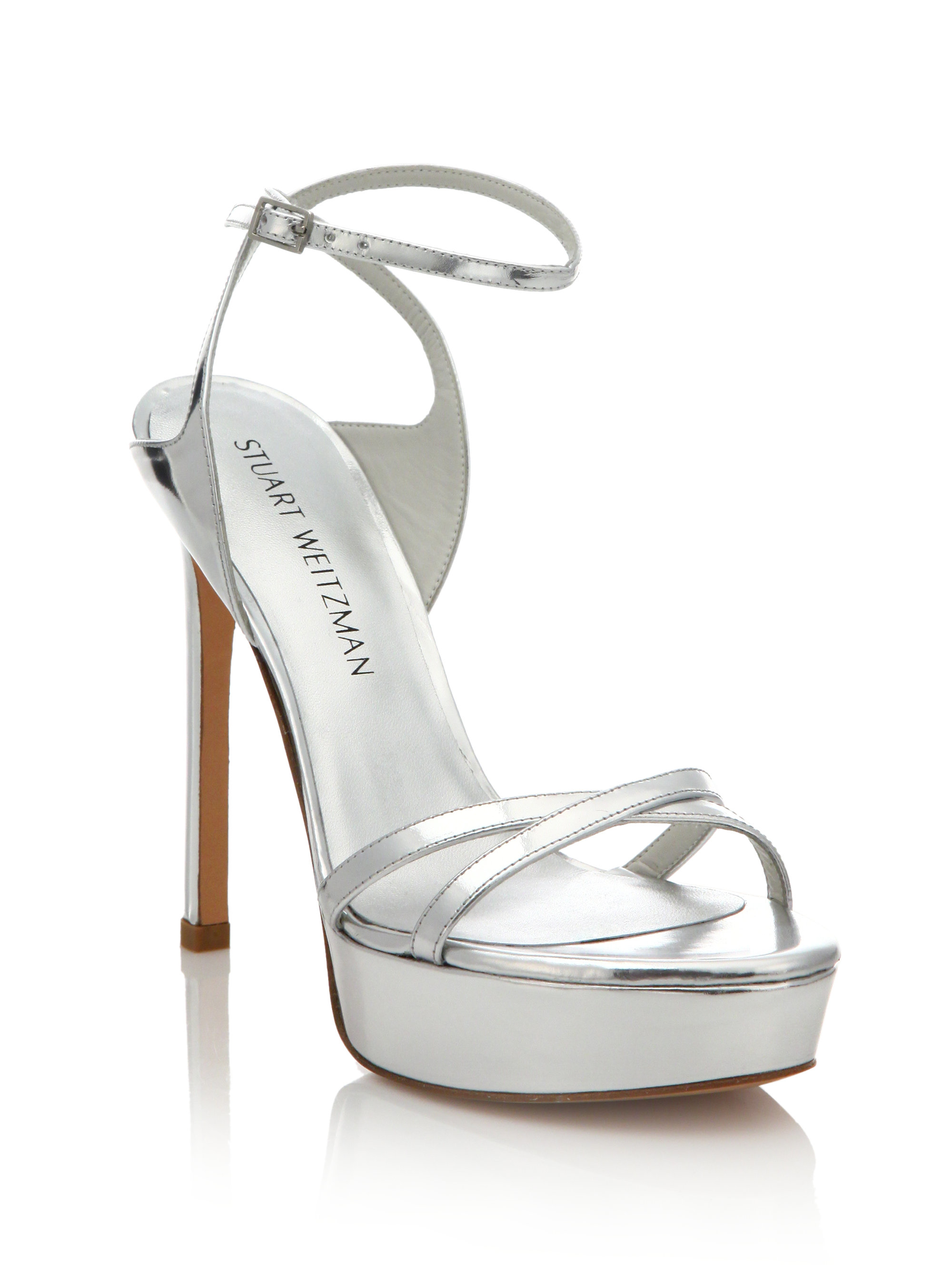 Be Bare Metallic Platform Sandals Stuart Weitzman Silver Sandals Shoes