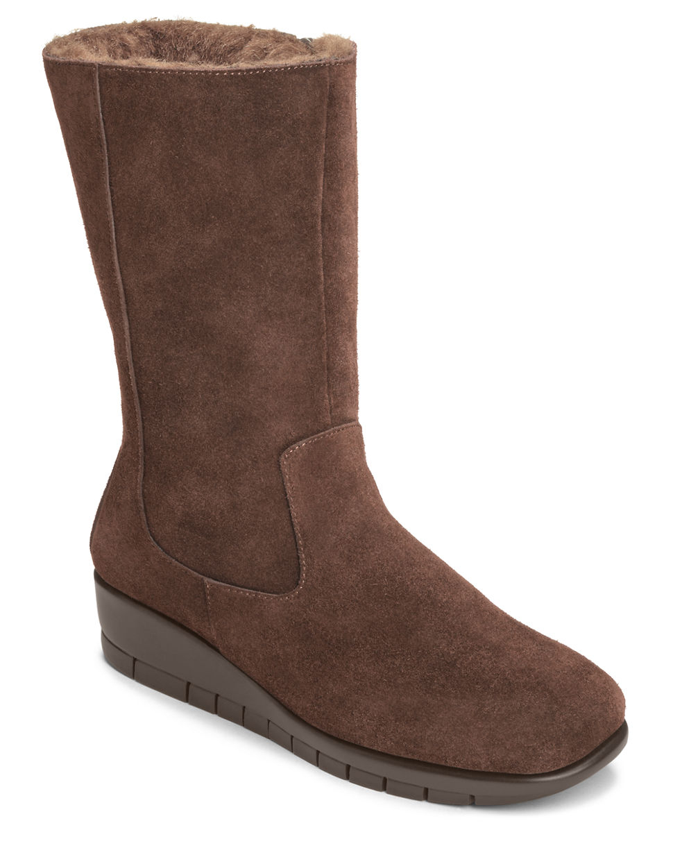aerosoles plantation suede mid shaft boots in brown lyst