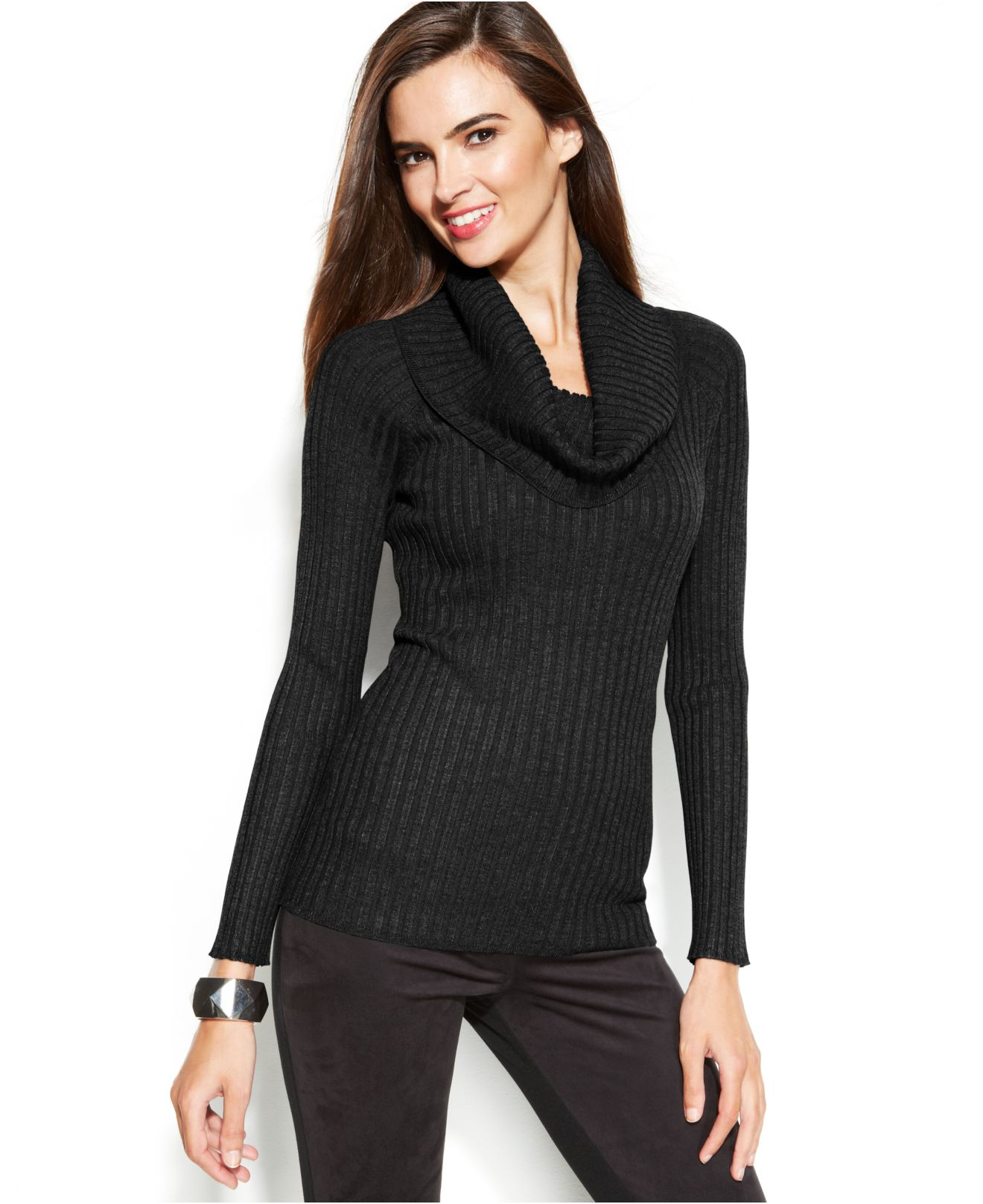 Inc international concepts Ribbed-Knit Cowl-Neck Sweater in Black ...