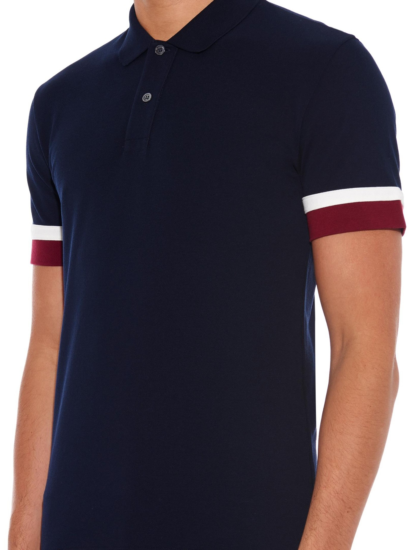 77dbb11f Gucci Contrast-Cuff Cotton-Piqué Polo Shirt in Blue for Men - Lyst
