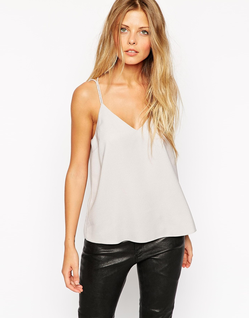 959724edee7a4 Lyst - ASOS Plunge Neck Strappy Cami Top in Gray