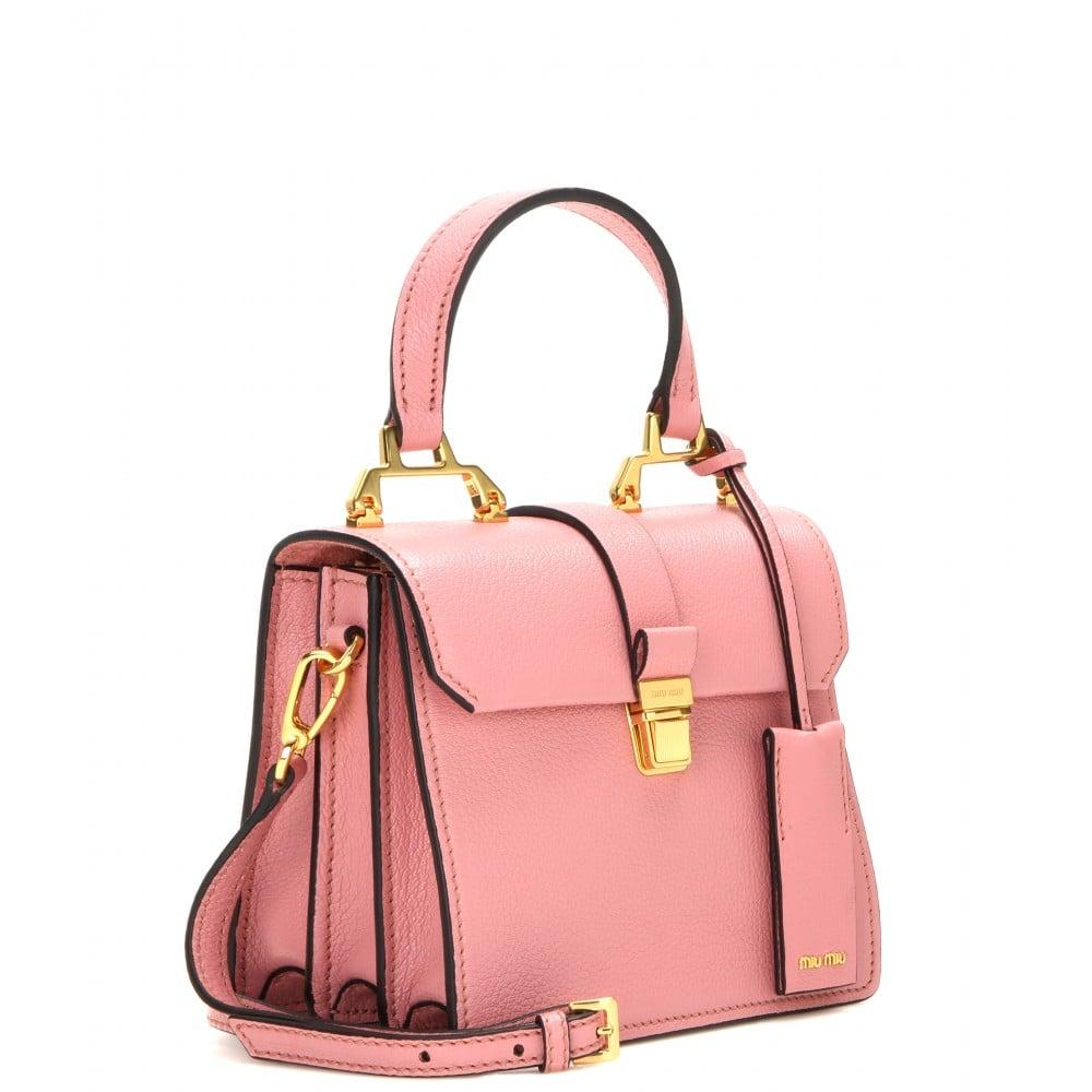 Lyst - Miu miu Leather Shoulder Bag in Pink