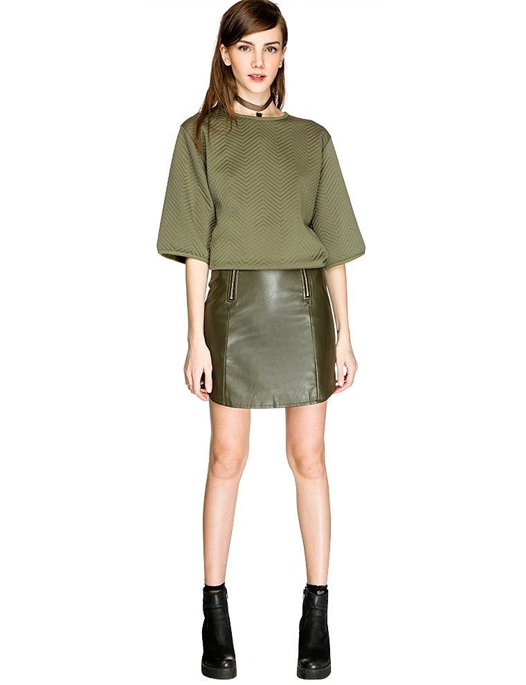 pixie market zip up olive leather skirt in green olive