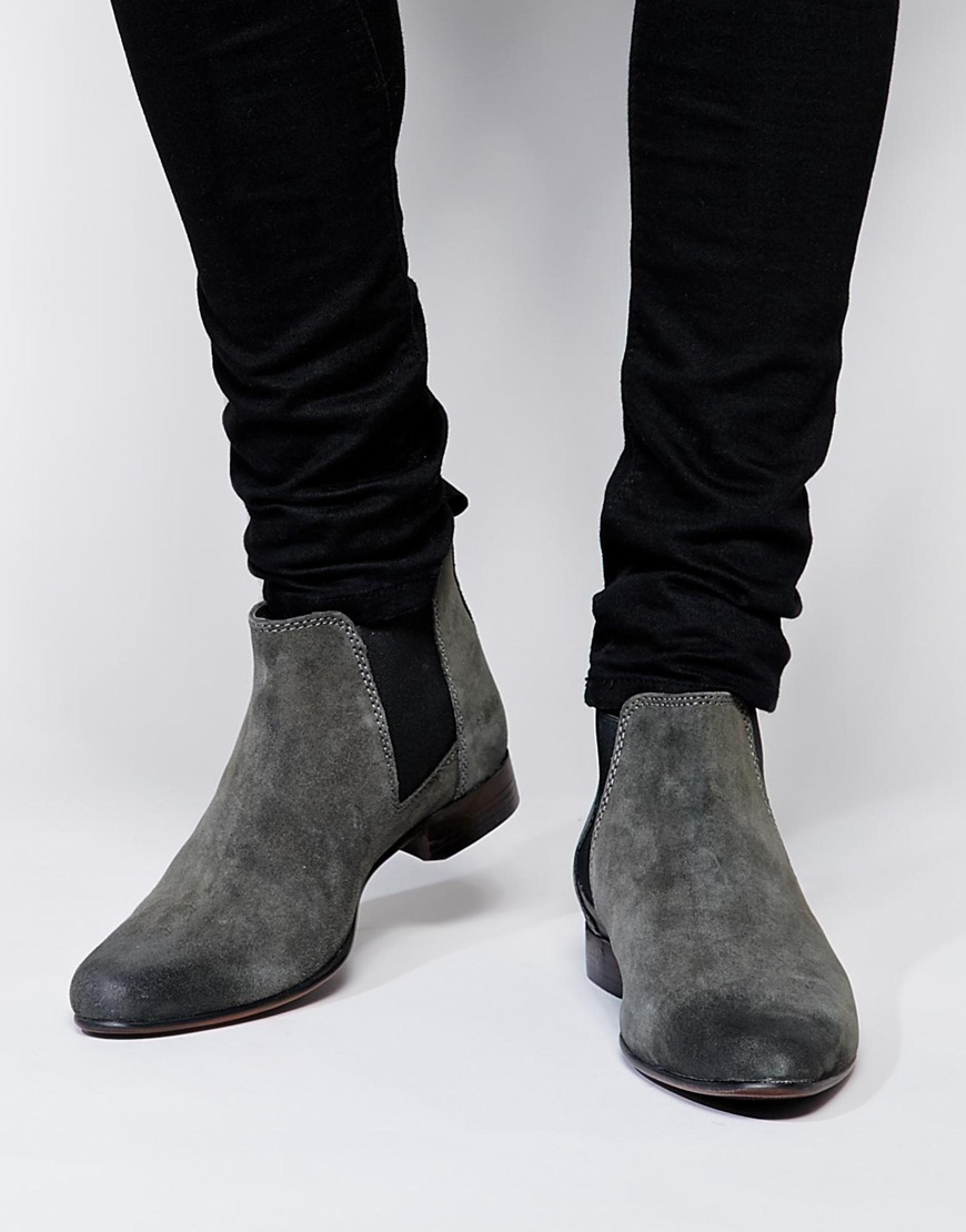Asos Chelsea Boots In Suede Gray For Men Lyst