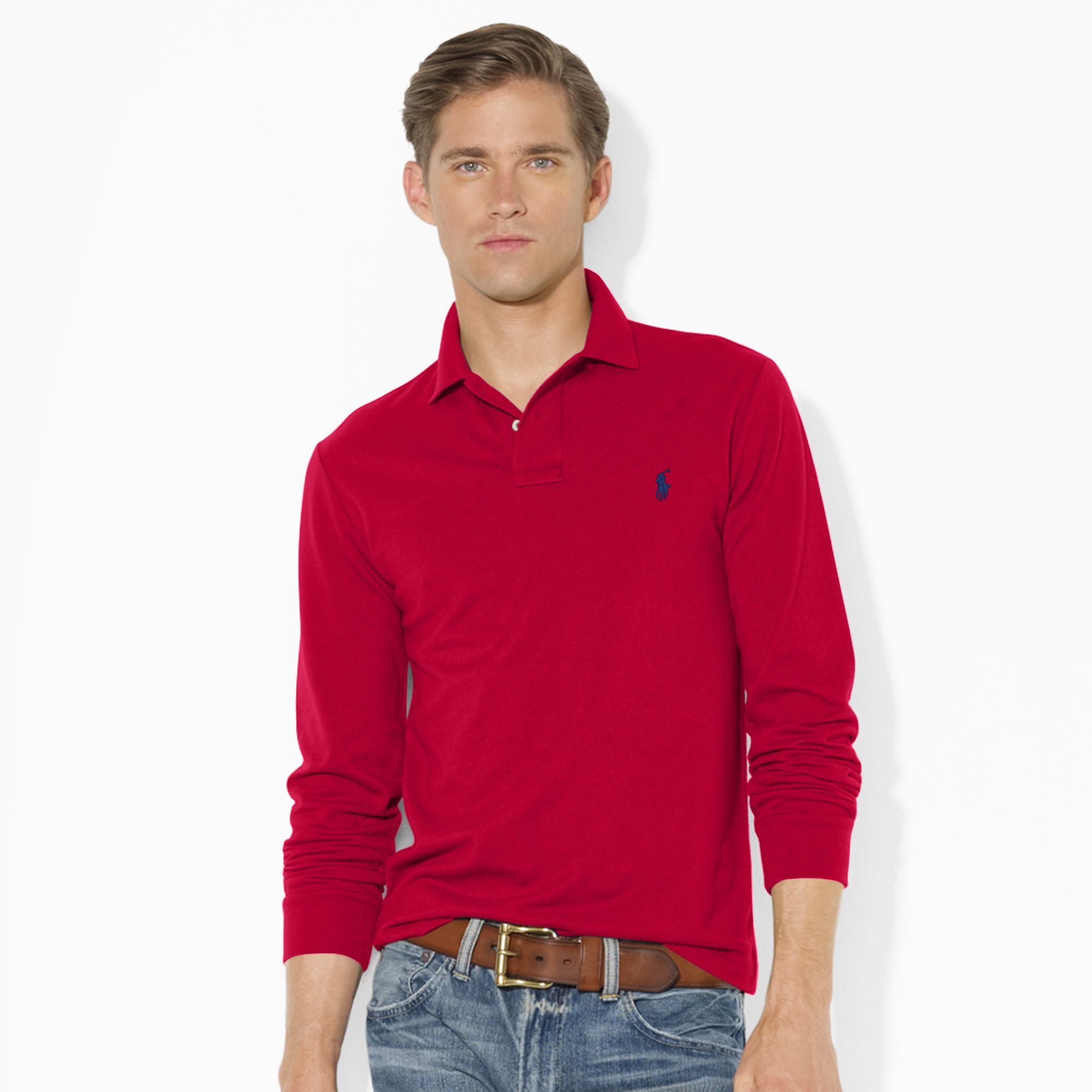 polo ralph lauren slim fit long sleeved polo in red for. Black Bedroom Furniture Sets. Home Design Ideas