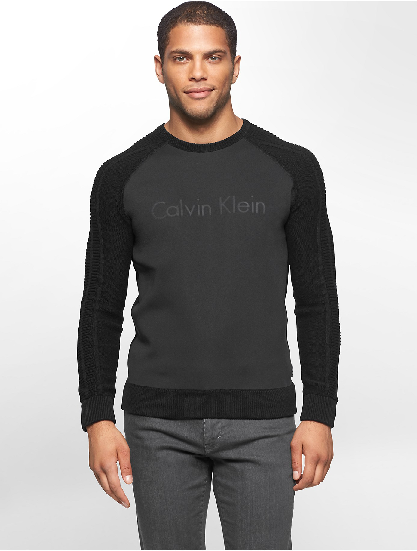 calvin klein jeans logo sweater long sweater jacket. Black Bedroom Furniture Sets. Home Design Ideas