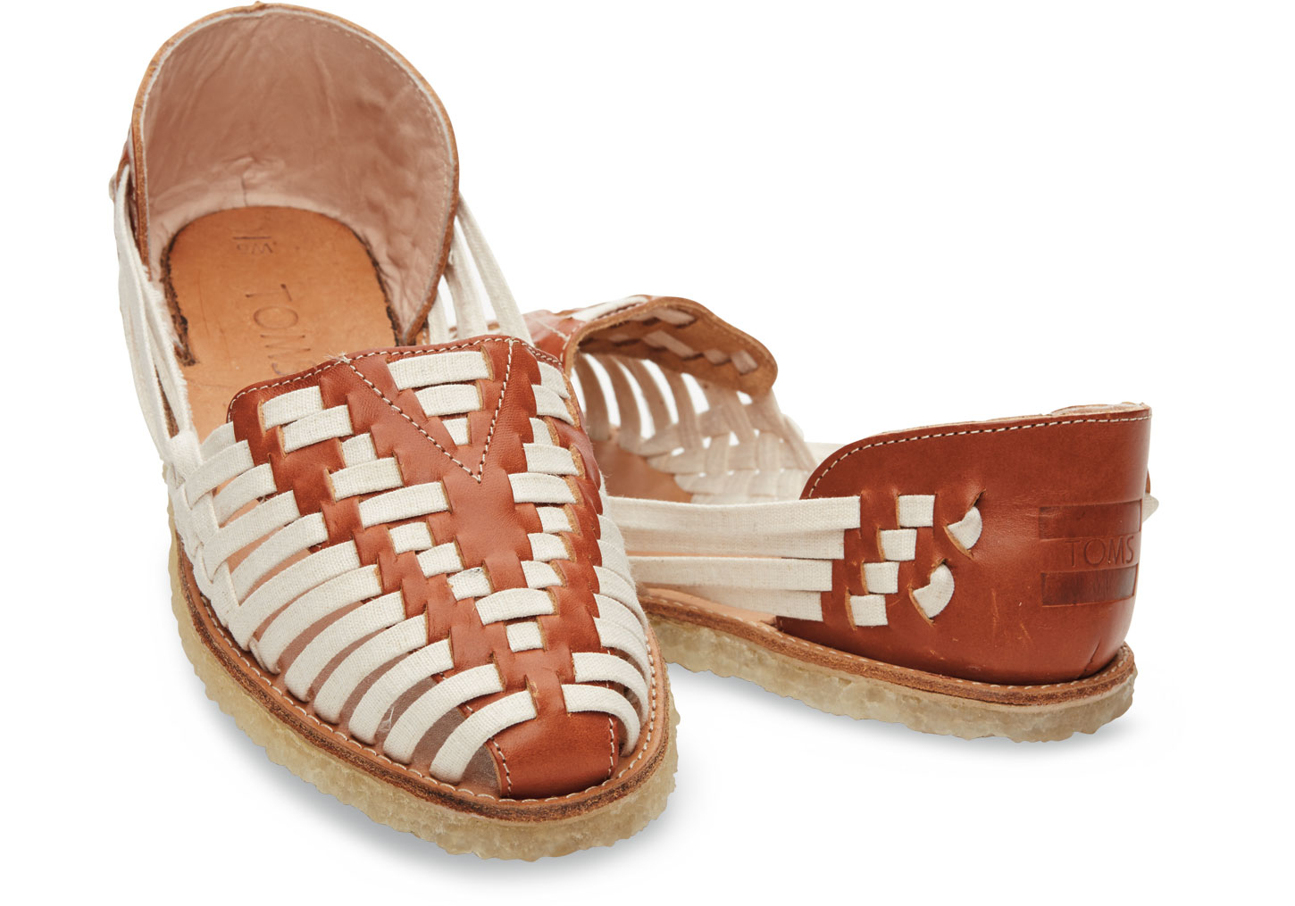 8467f8920ca Lyst - TOMS White Cognac Leather And Textile Women s Huaraches in ...
