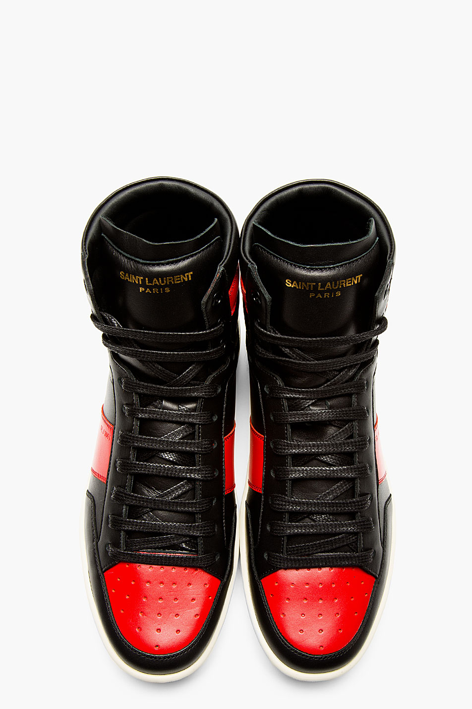 Saint Laurent Black And Red Leather High Top Sneakers In
