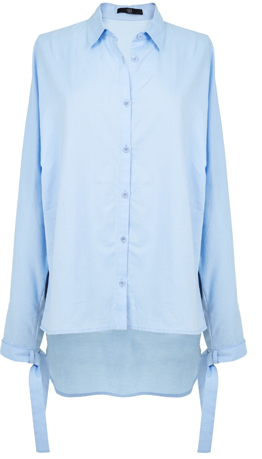 Tibi oxford dolman tie shirt in blue light blue lyst for Oxford shirt with tie