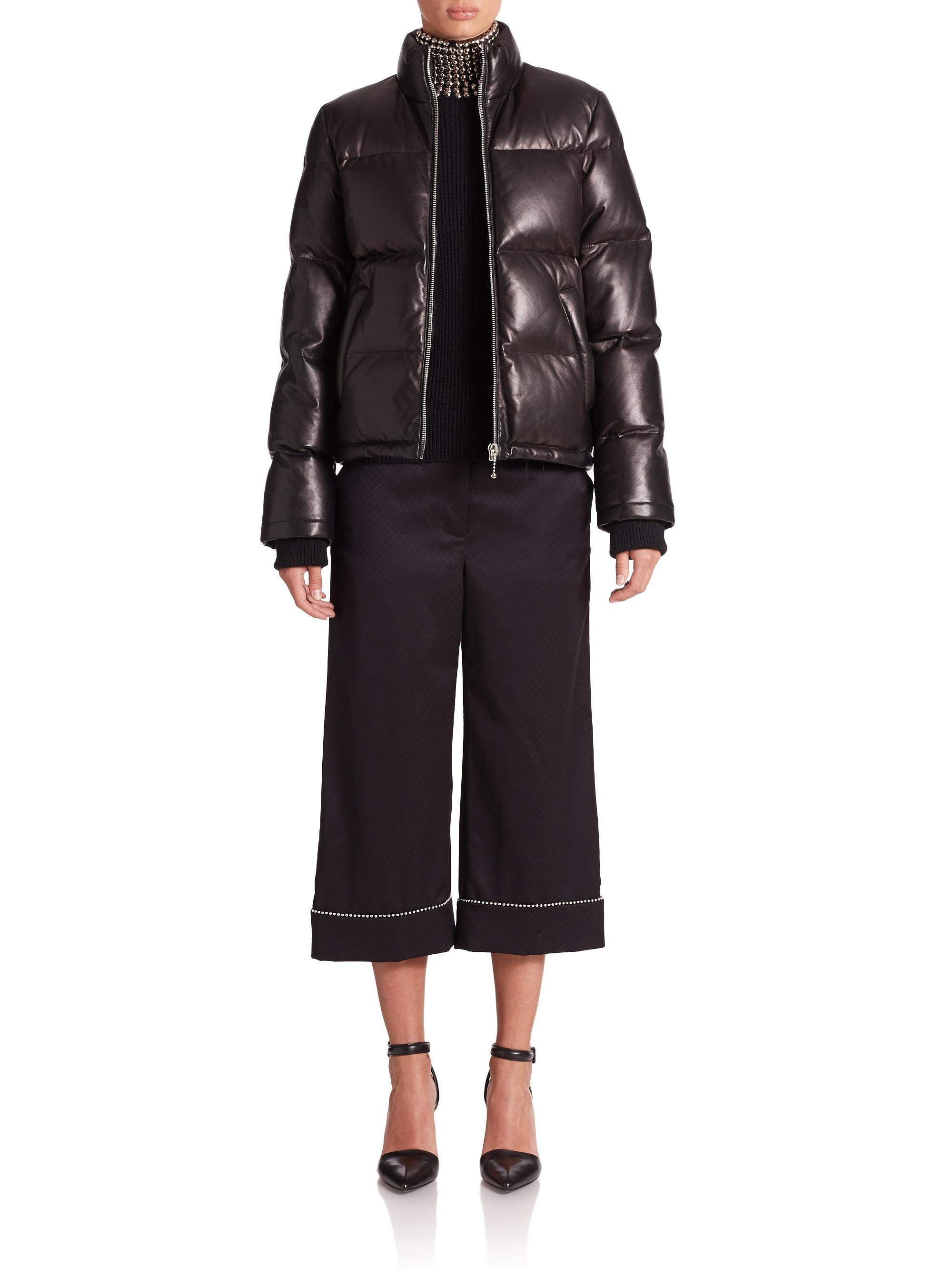 a03ad3b6b Alexander Wang Black Leather Puffer Jacket