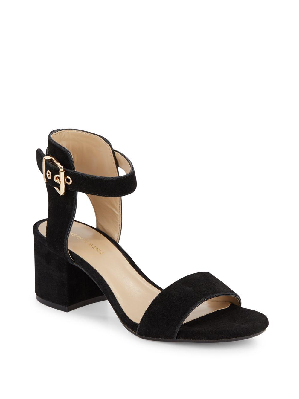 saks fifth avenue helaine suede sandals in black lyst