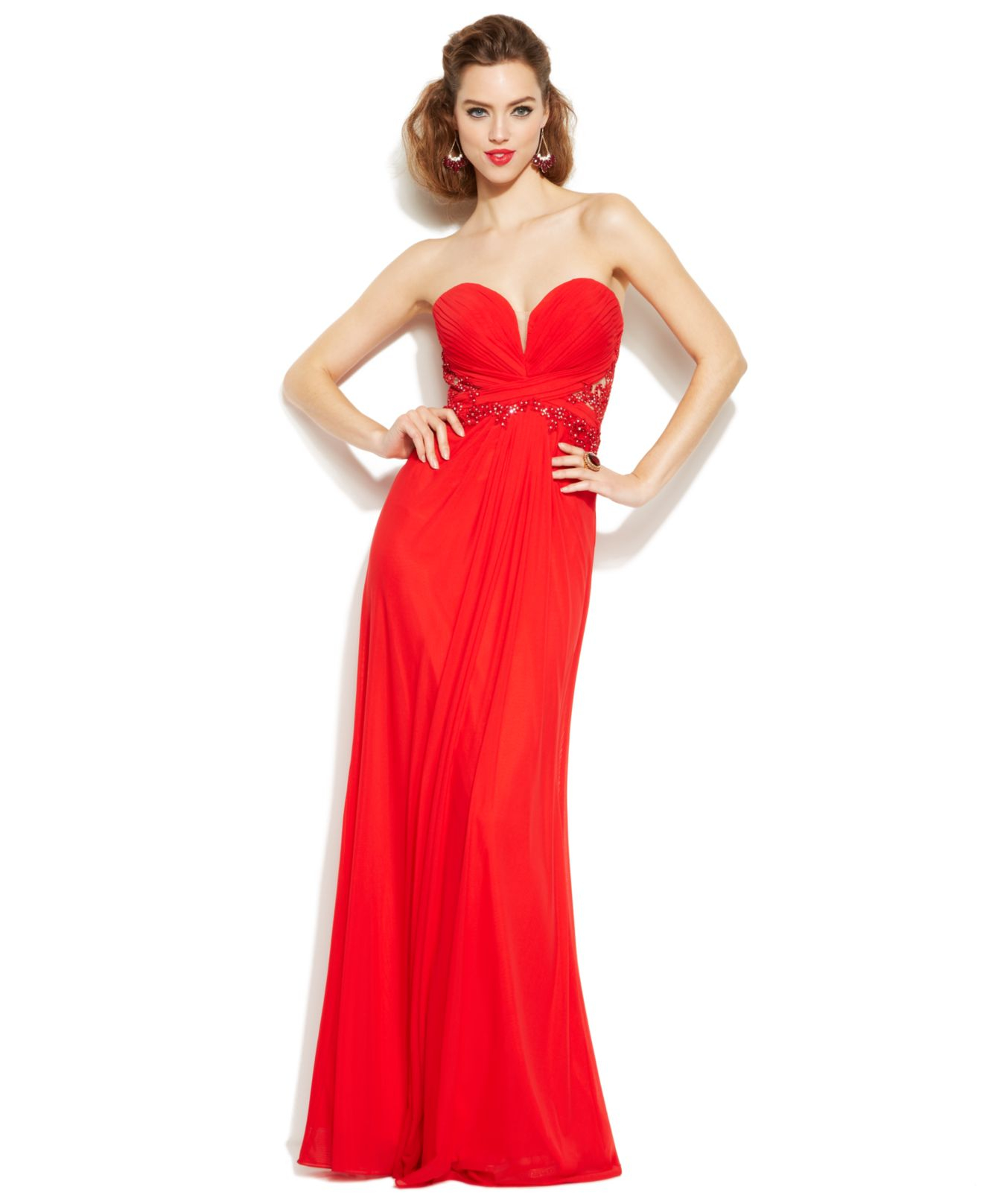 Xscape Embellished Illusion Lace Strapless Gown In Red Lyst