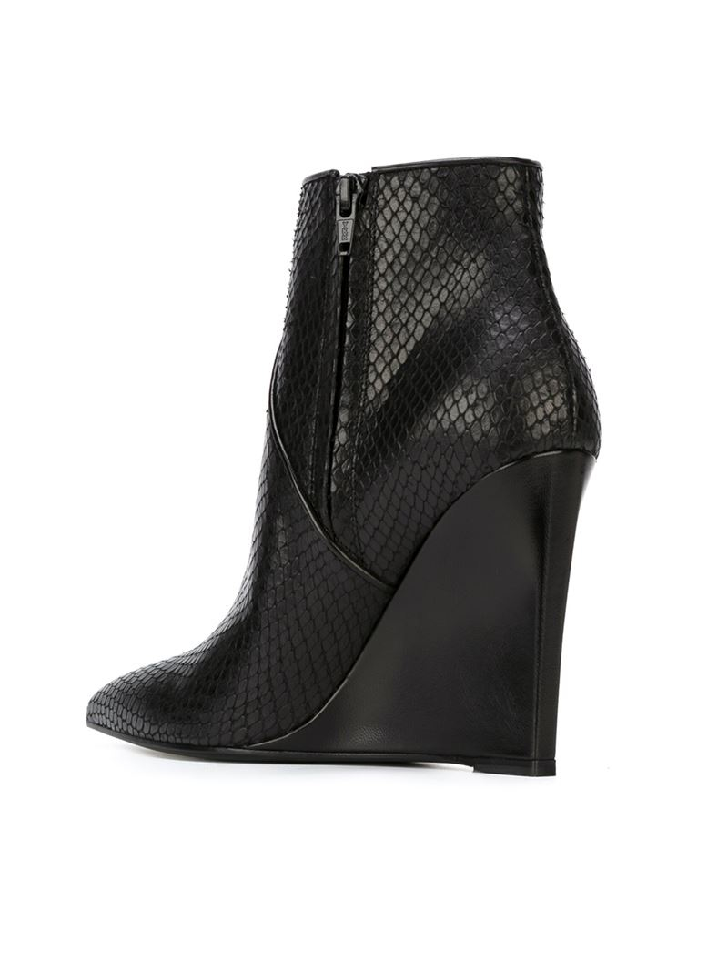 Saint laurent Wedge Heel Ankle Boots in Black | Lyst