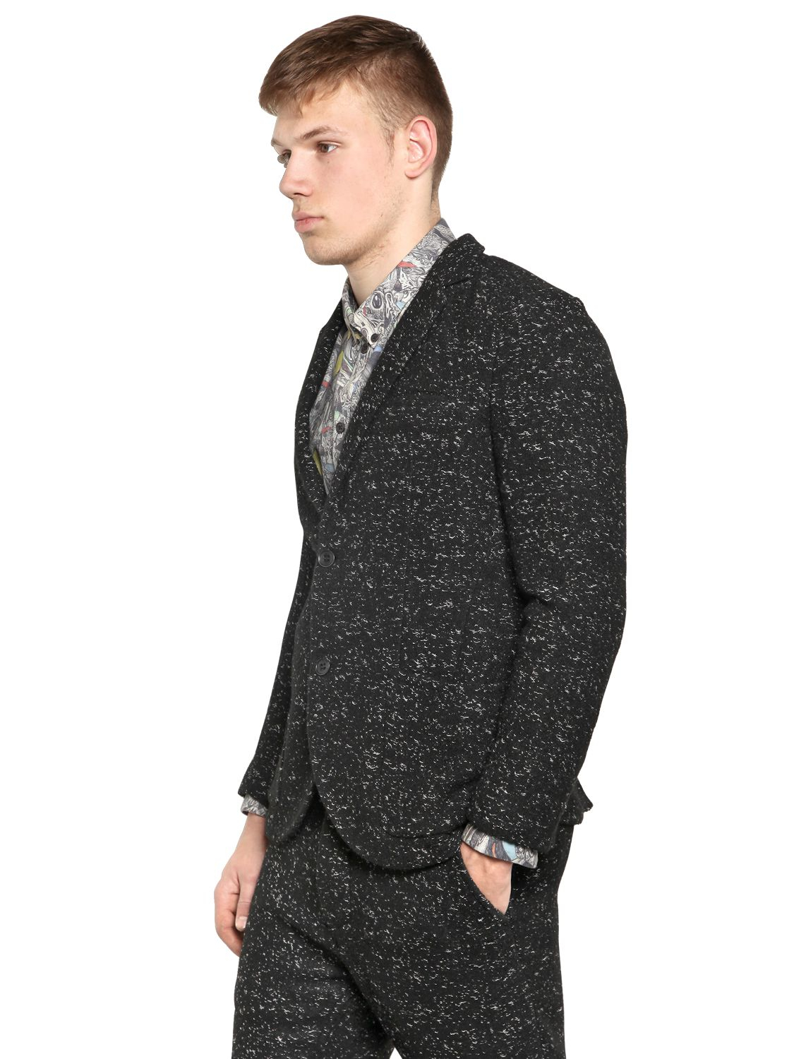 Uniforms for the Dedicated Techno Melange Bouclé Jacket in Black for Men