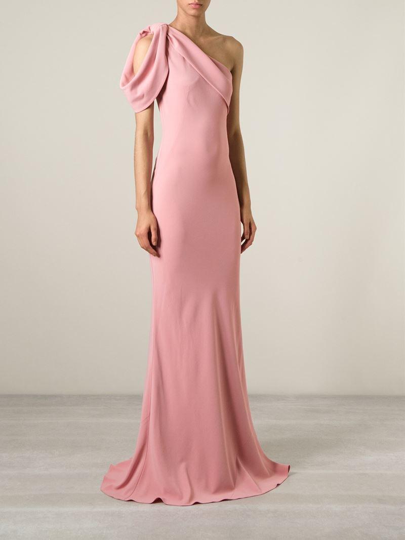 Alexander McQueen One-Shoulder Silk-Blend Gown in Pink & Purple (Pink)