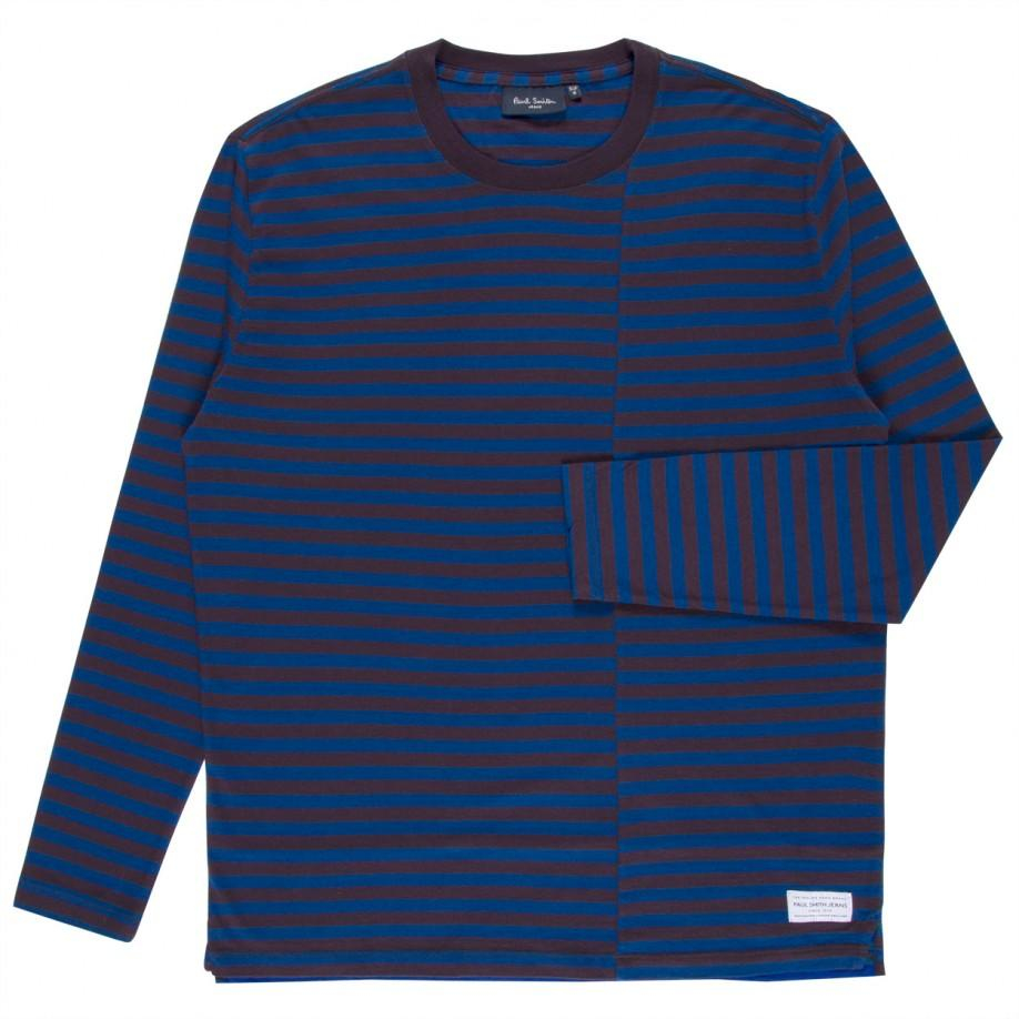 Paul smith men 39 s purple and blue offset breton stripe long for Purple and black striped t shirt