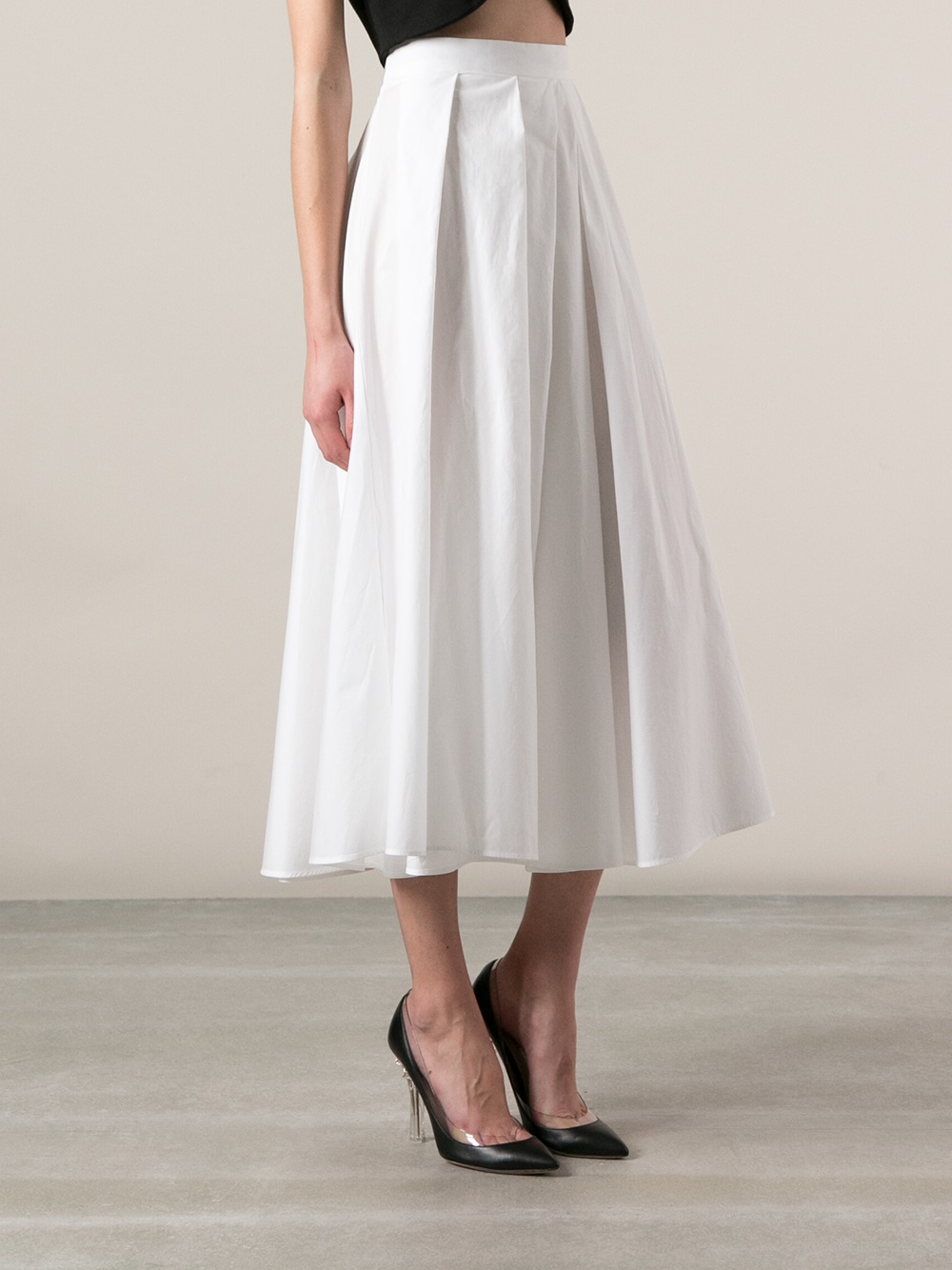 Antonio marras Pleated A-Line Skirt in White | Lyst
