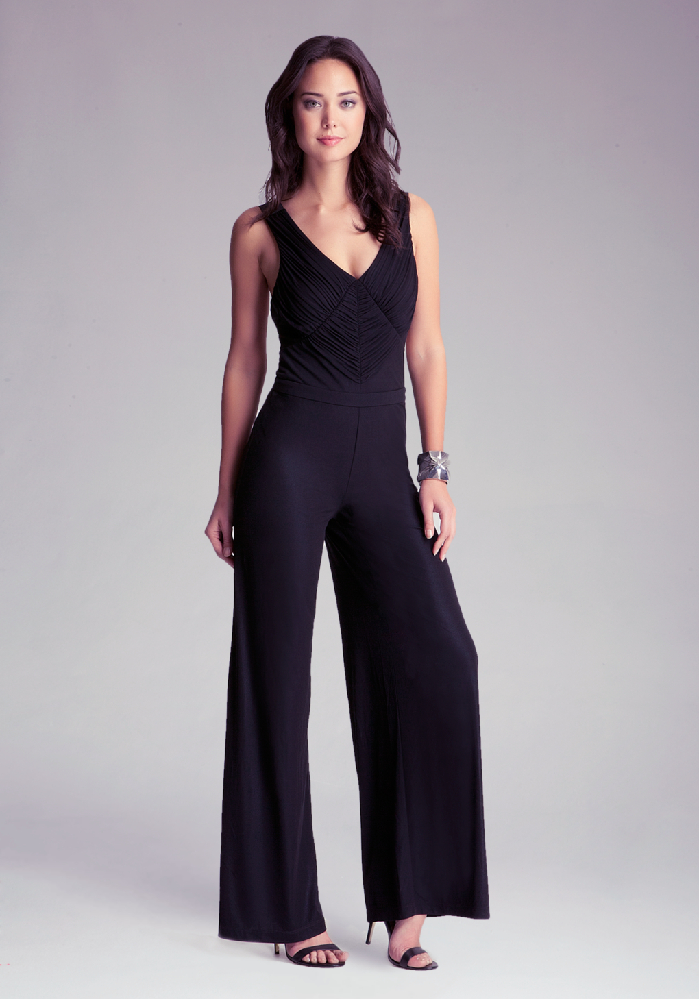 lyst bebe petite wide leg jumpsuit in black. Black Bedroom Furniture Sets. Home Design Ideas