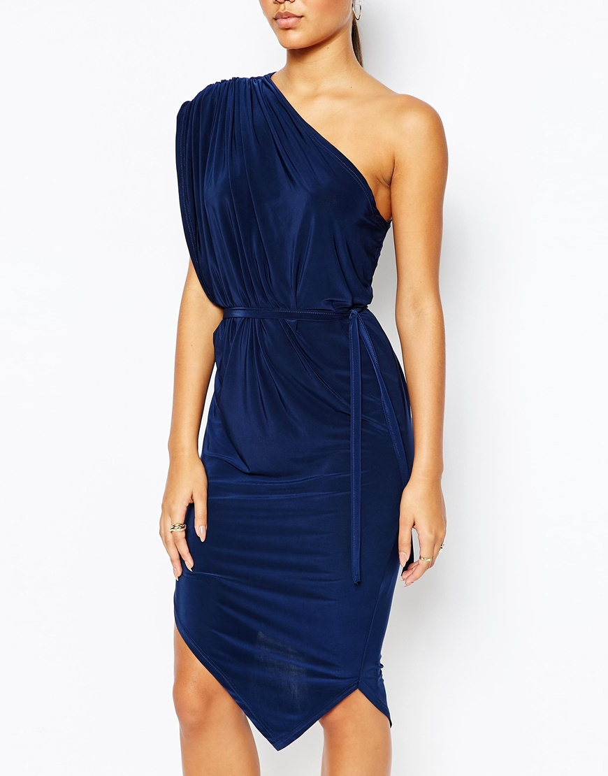 Club L Synthetic One Shoulder Drape Dress In Navy Blue Lyst