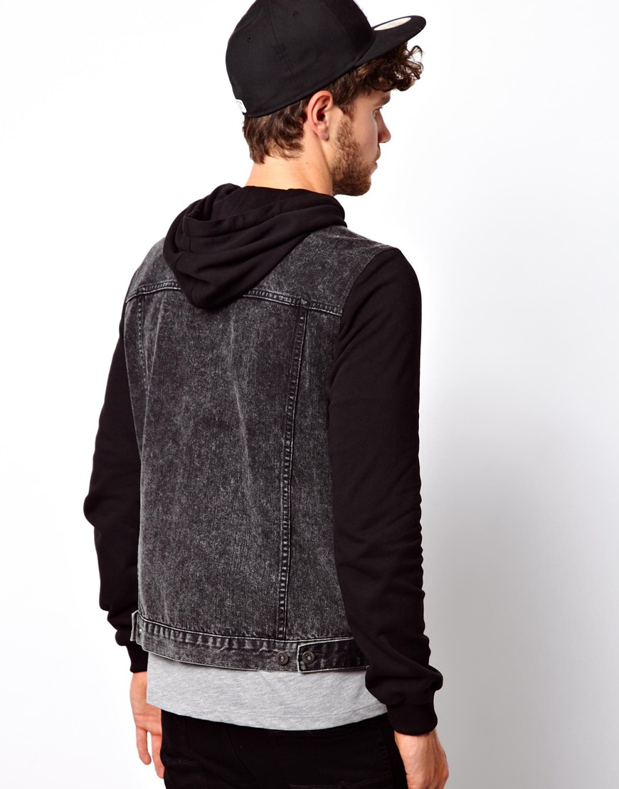 Lyst Asos Denim Jacket With Jersey Sleeves In Black For Men