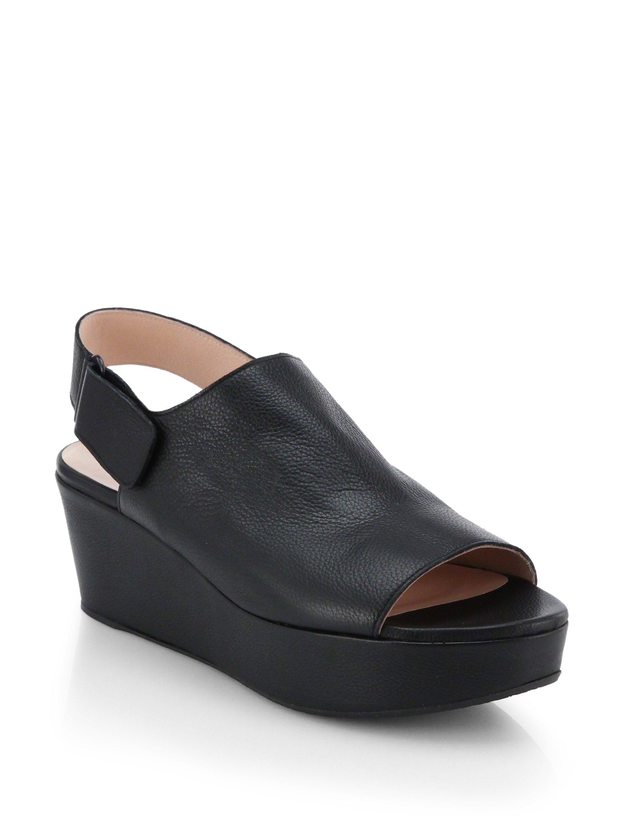 stuart weitzman offset wedge platform sandals in black lyst