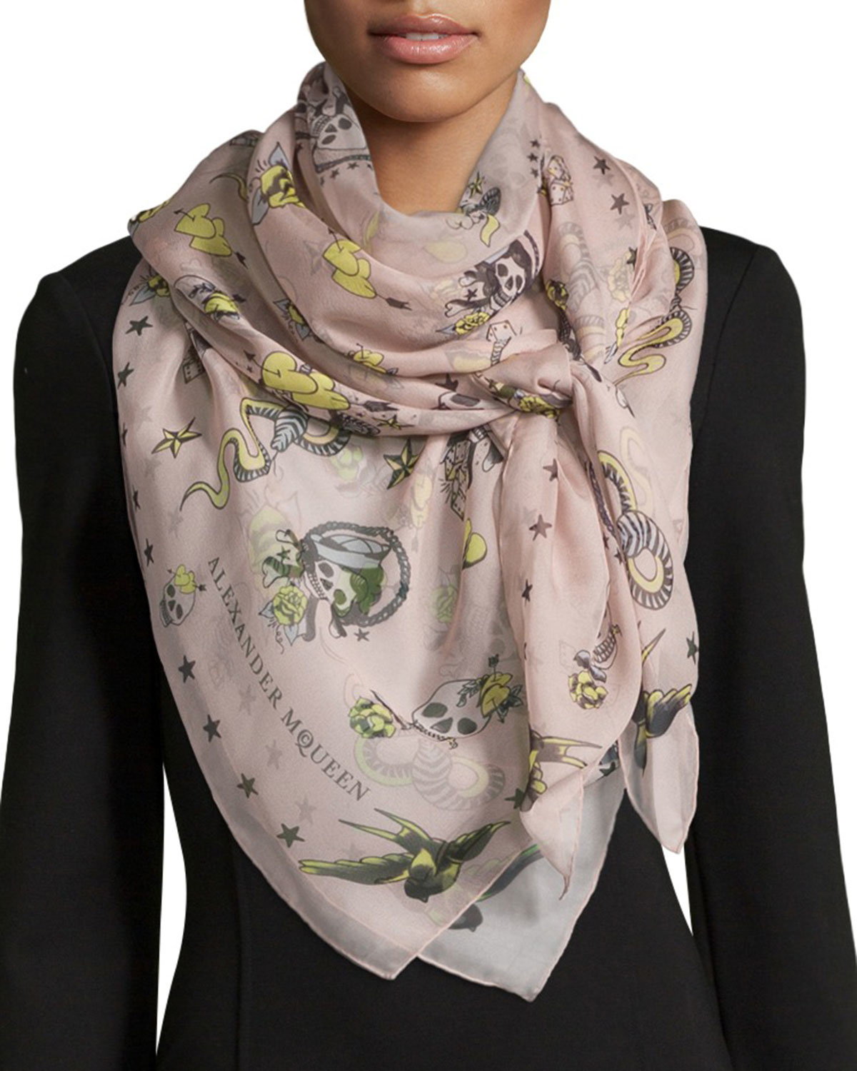 60322aa60f2bd Gallery. Previously sold at  Bergdorf Goodman · Women s Alexander Mcqueen  Skull Scarf ...