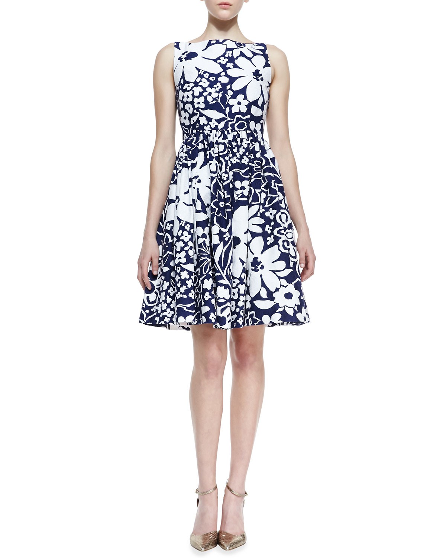 Kate Spade Tanner Sleeveless Floralprint Bowback Dress French