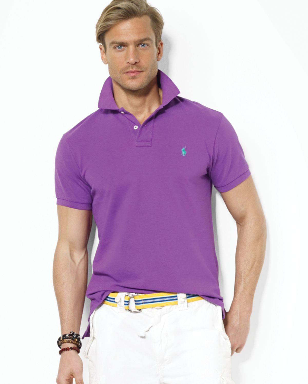 bce1c5bb ... sweden lyst ralph lauren polo customfit mesh polo shirt in purple for  men 1cdf2 6290f