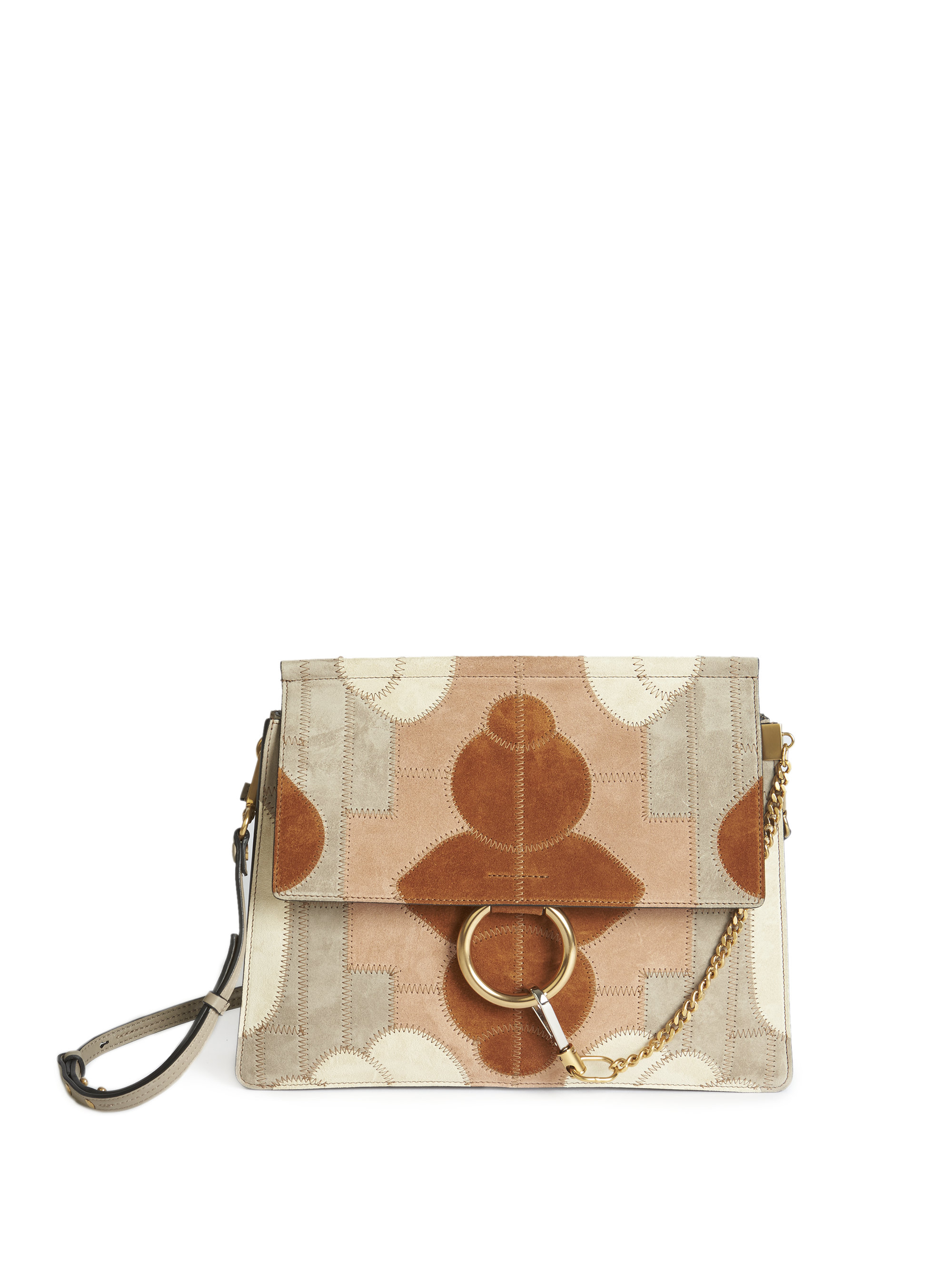knockoff chloe handbags - Chlo�� Faye Medium Floral Patchwork Suede Shoulder Bag in Brown ...