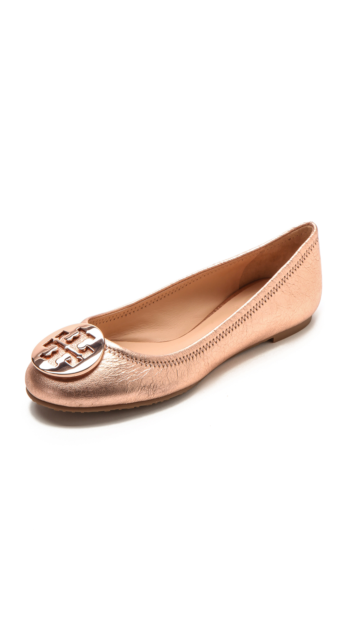9da212b73185 ... hot lyst tory burch reva ballet flats rose gold in pink 3ba10 2b7ca