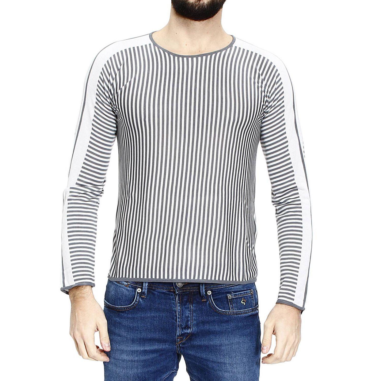 emporio armani sweater roundneck stripe in gray for men. Black Bedroom Furniture Sets. Home Design Ideas