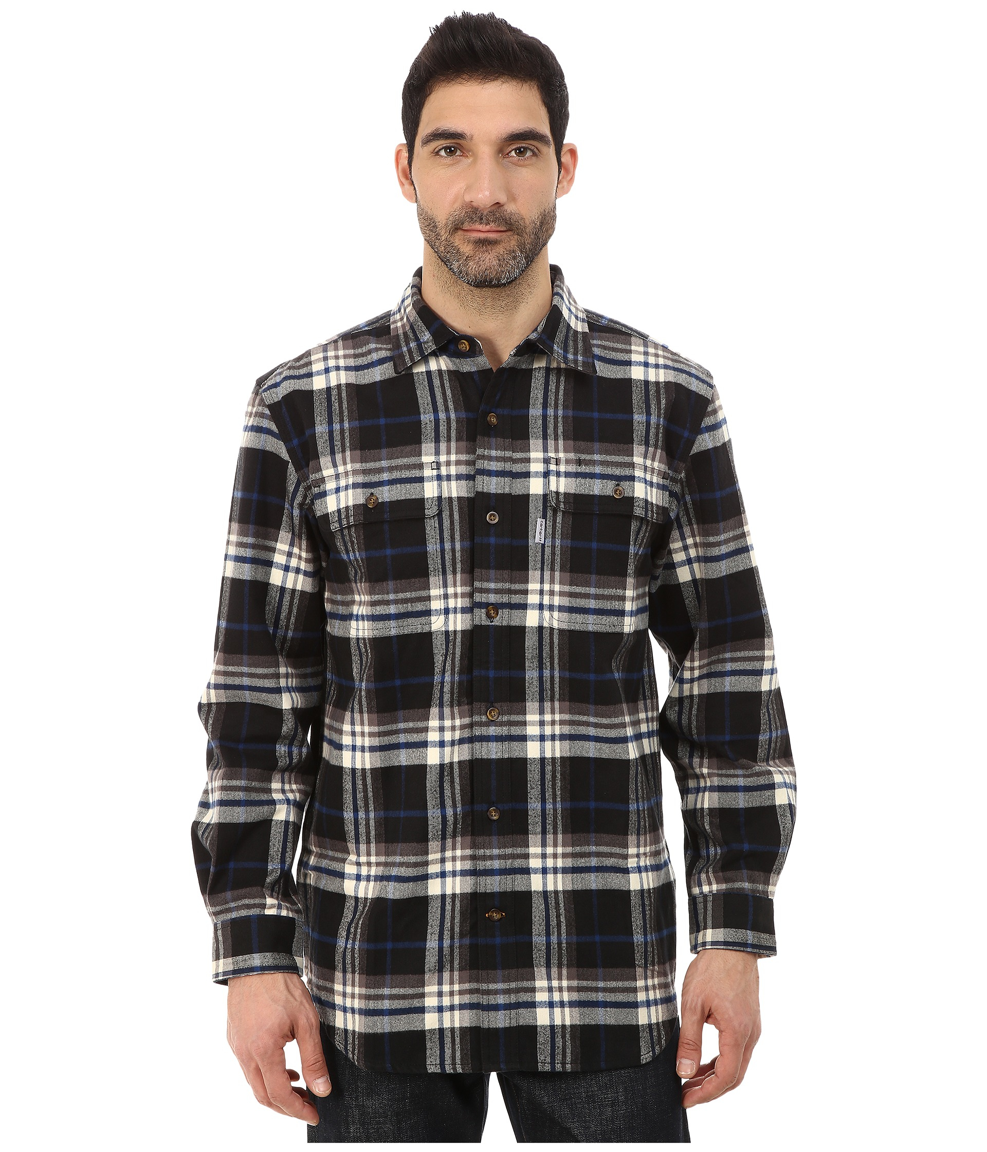 Carhartt hubbard plaid shirt in black for men lyst for Black plaid shirt mens