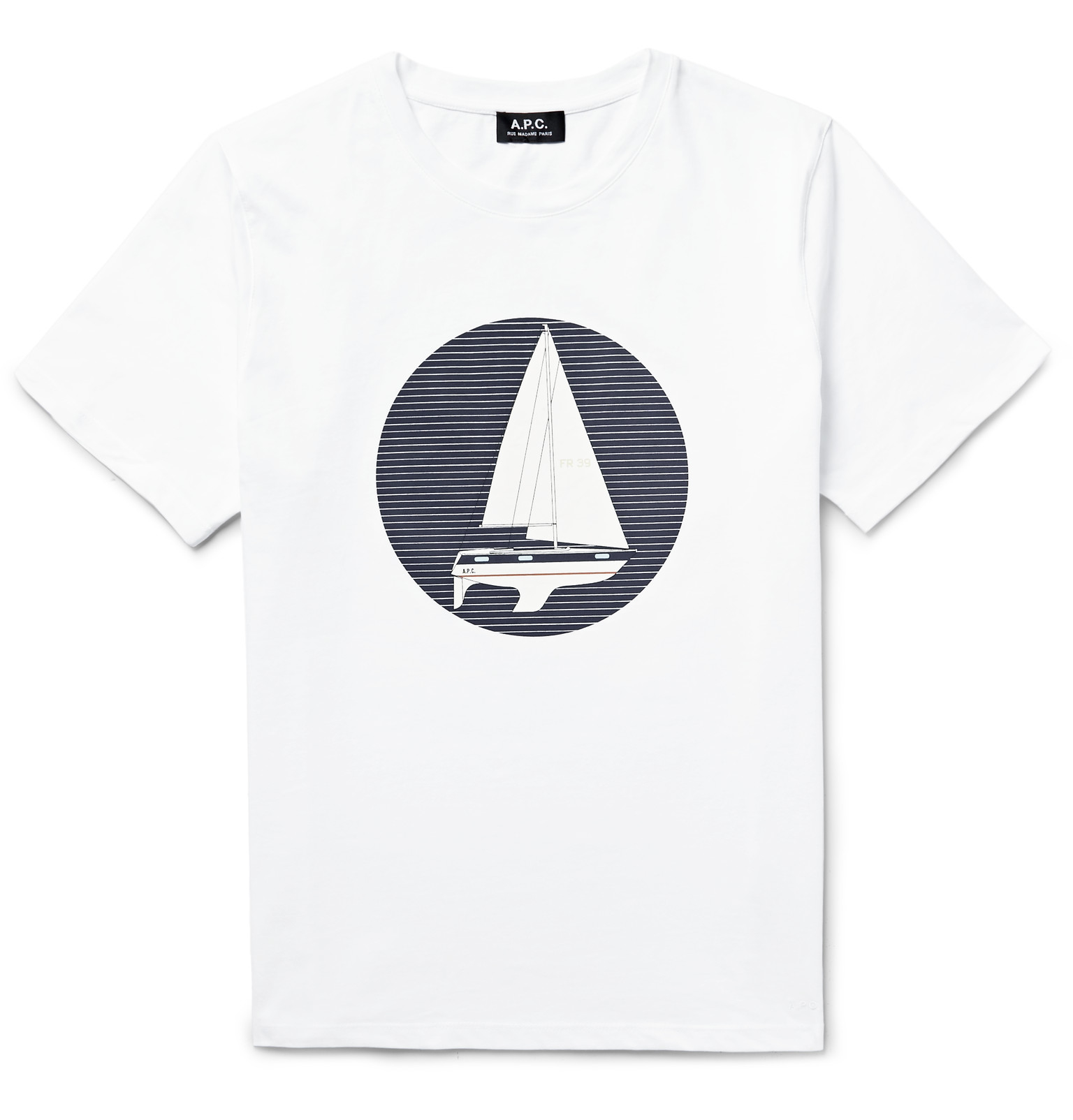 Lyst a p c sailboat printed cotton jersey t shirt in for Apc white t shirt