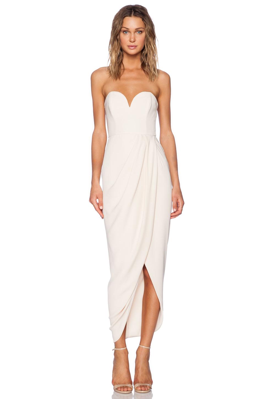 Shona Joy Bustier Draped Maxi Dress In Natural Lyst