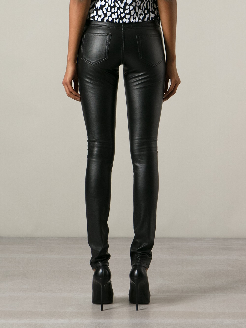 Saint laurent Eco Leather Skinny Jeans in Black | Lyst