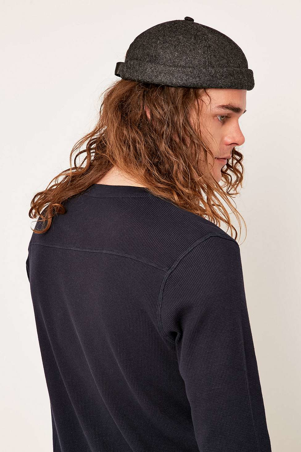 Urban Outfitters Charcoal Melton Docker Hat In Dark Grey