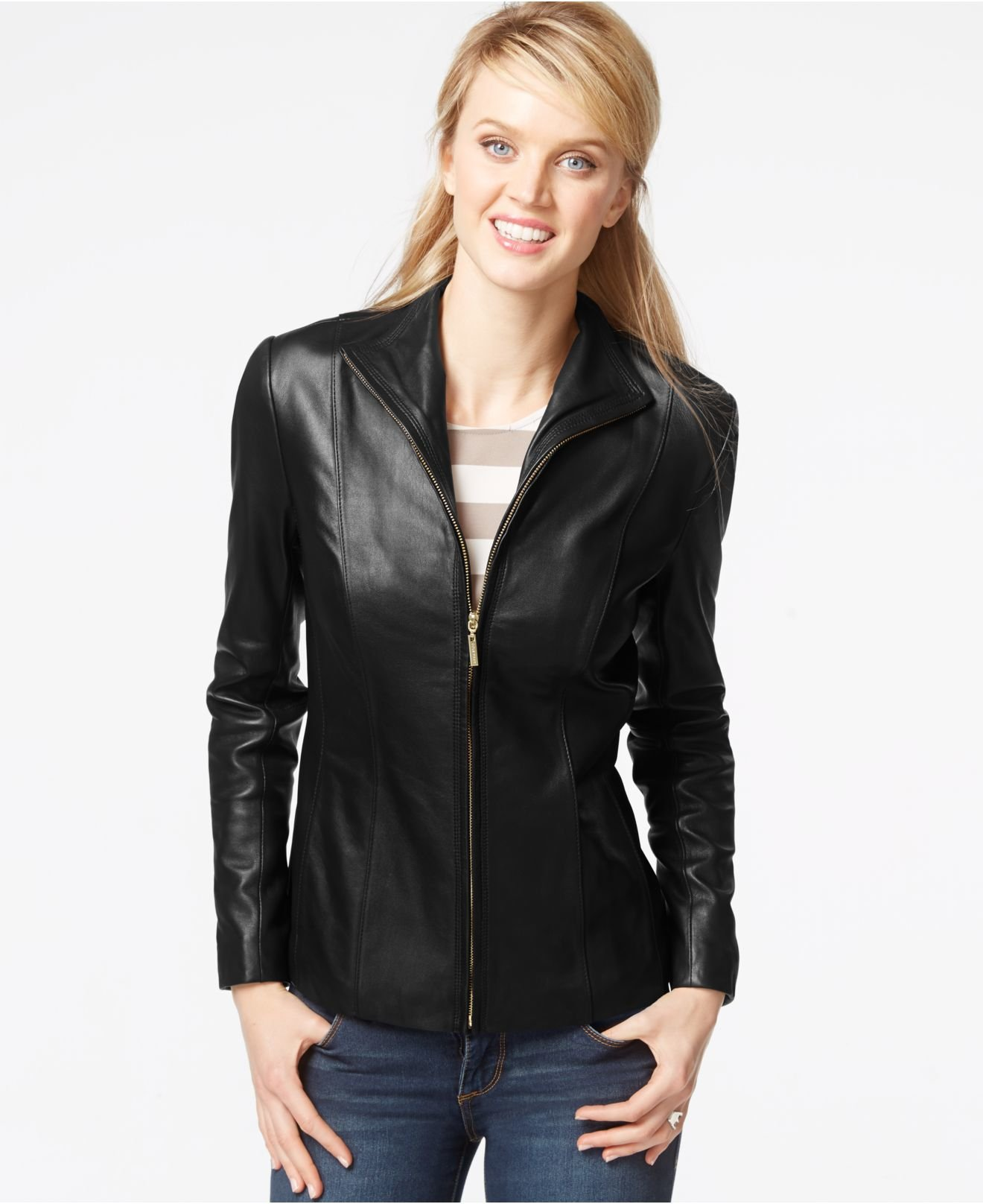 Lyst Cole Haan Stand Collar Leather Jacket In Black