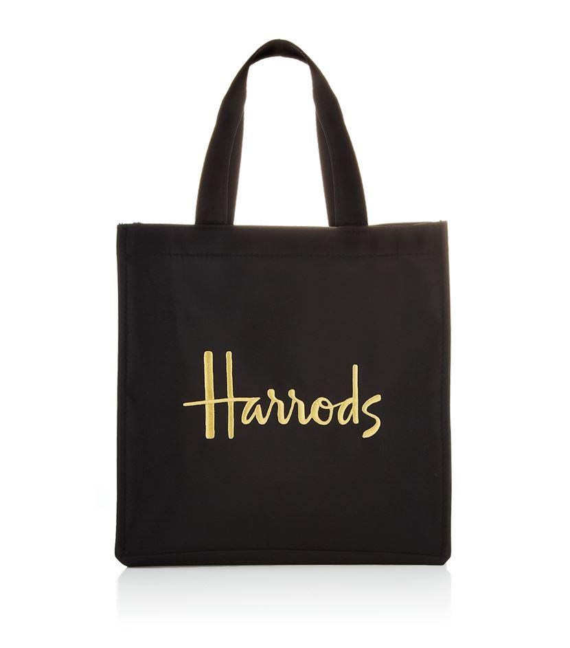 Harrods Small Microfibre Shopper Bag in Black