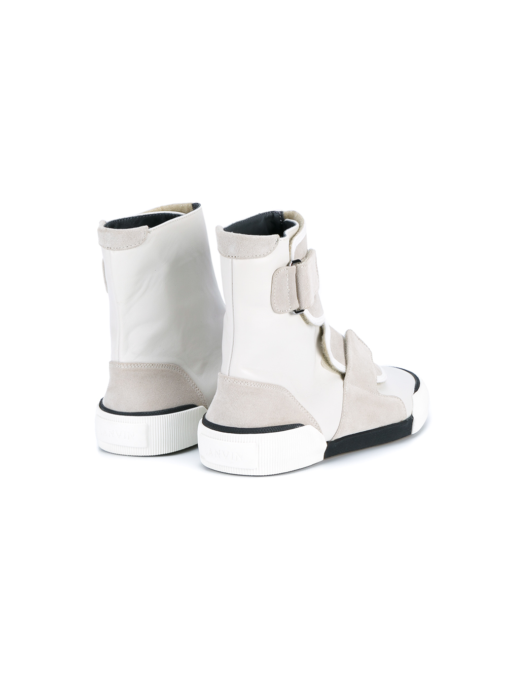 Lanvin Leather Panel Hi-top Sneakers in Grey (White) for Men