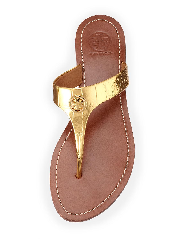 2123c8eccf9de4 Lyst - Tory Burch Cameron Crocembossed Thong Sandal Gold in Metallic