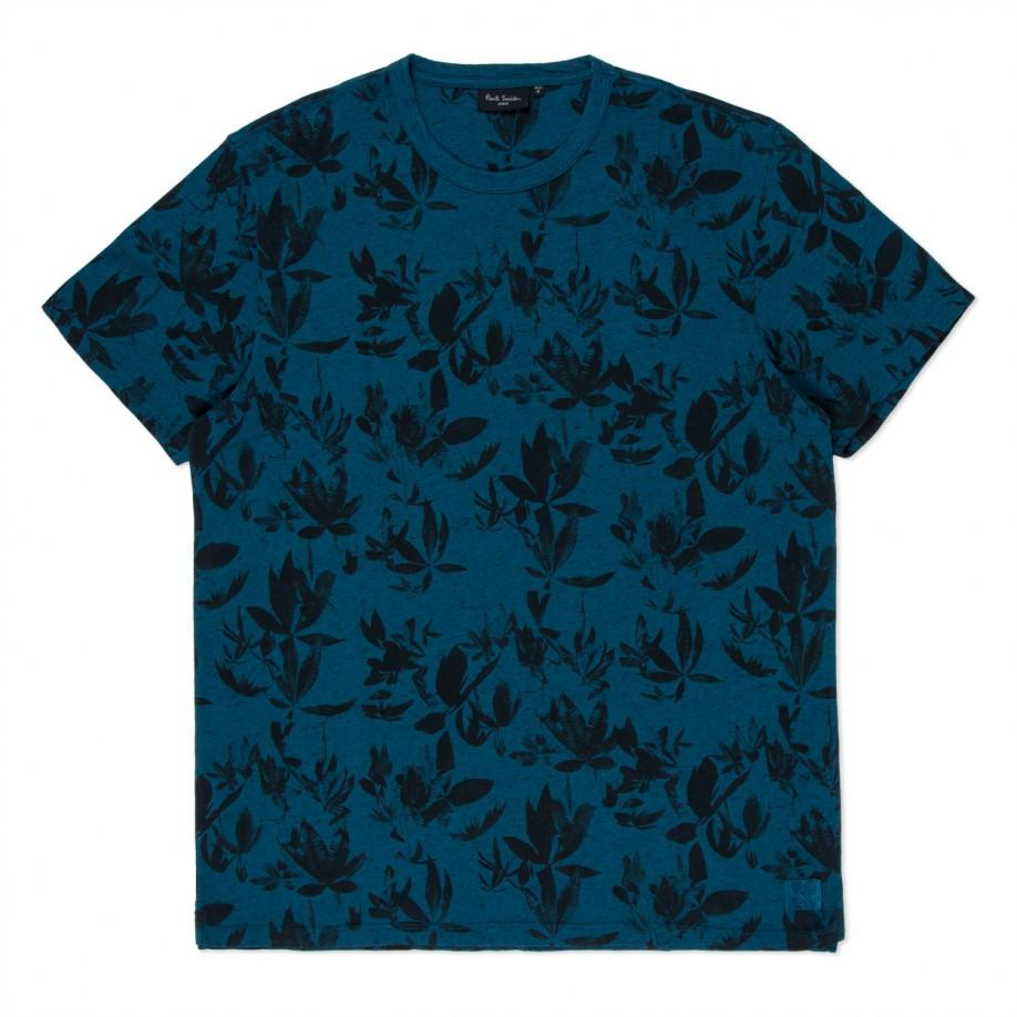Paul smith petrol blue floral print t shirt in teal for for Vista print tee shirt